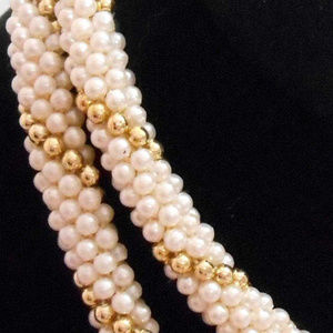 26 in Gold Pearl crocheted beaded necklace Art VTG